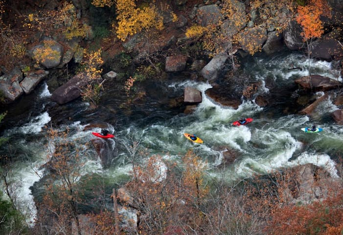 Several times a year they release the water in the Tallulah Gorge and you can watch expert kayakers brave the 5 falls within the gorge.