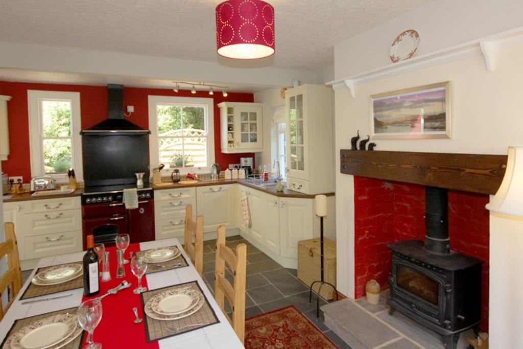 Dining Kitchen with Wood Burner