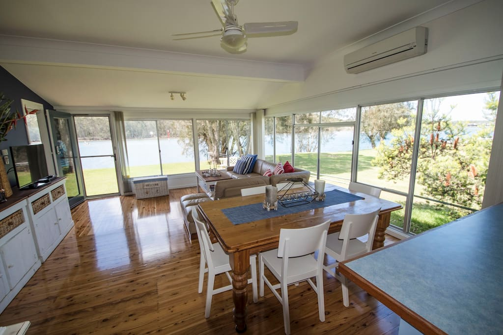 Open plan living with great views of the lake