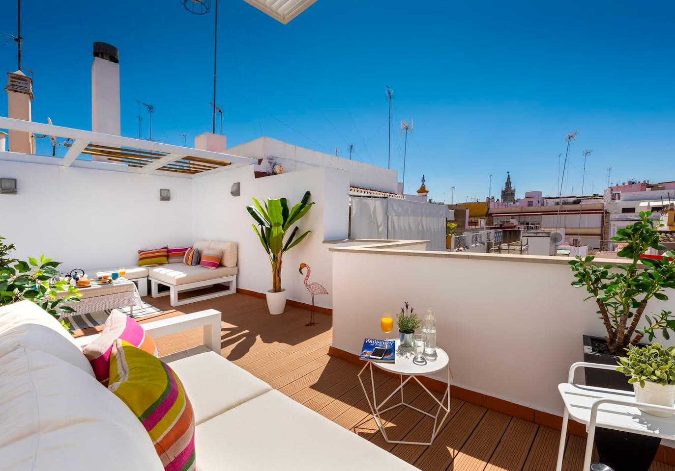 Amazing terrace with a view on  the roof of the building. Shared with the apartments of the small building