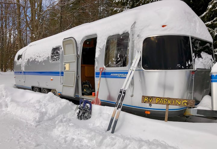 The Silver Bullet in the Snow (Airstream Glamping)