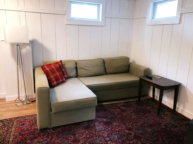 Sleeper sofa pulls out for 1-2 guests