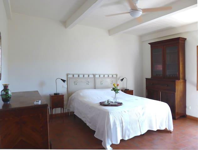 Camera matrimoniale con mobili d'epoca e aria condizionata