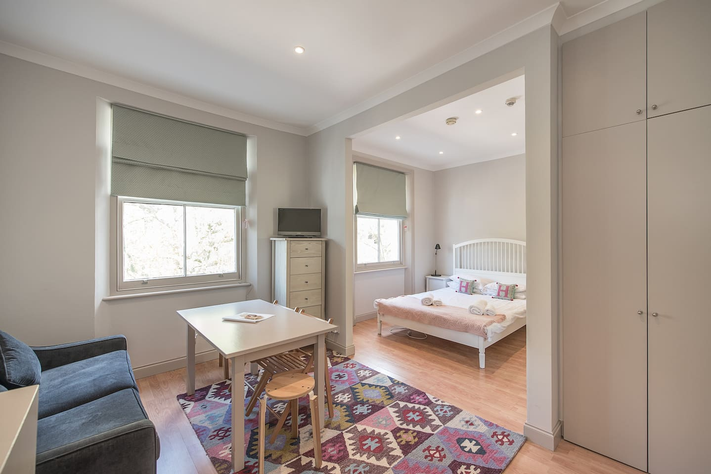 Newly decorated large studio room with sofa bed, TV and wifi.