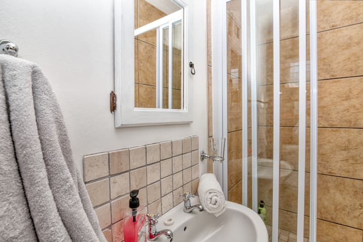 Shower & basin in on-suit bathroom including soap, shampoo and towels