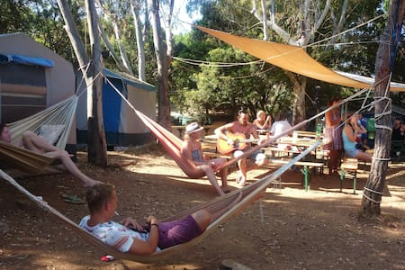 Single bed in 6 bed shared tent at Camping Lacona