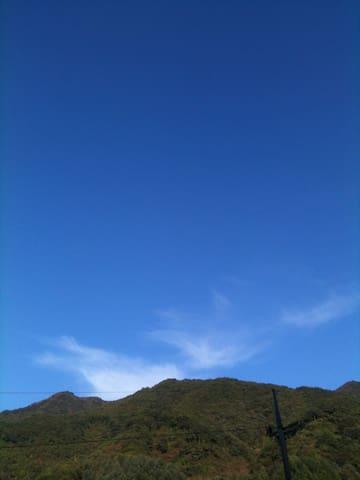 마당에서 보이는 하늘