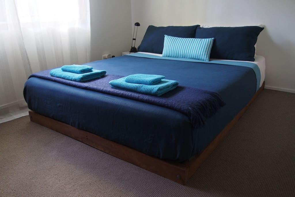 Main bedroom with Queen size latex mattress.