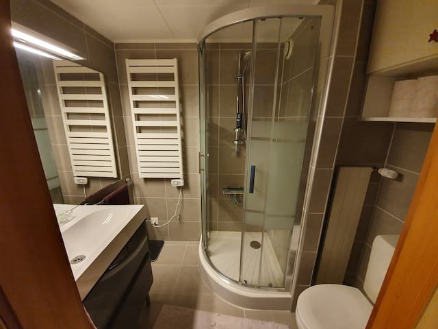 Salle de bain entièrement neuve et très agréable.