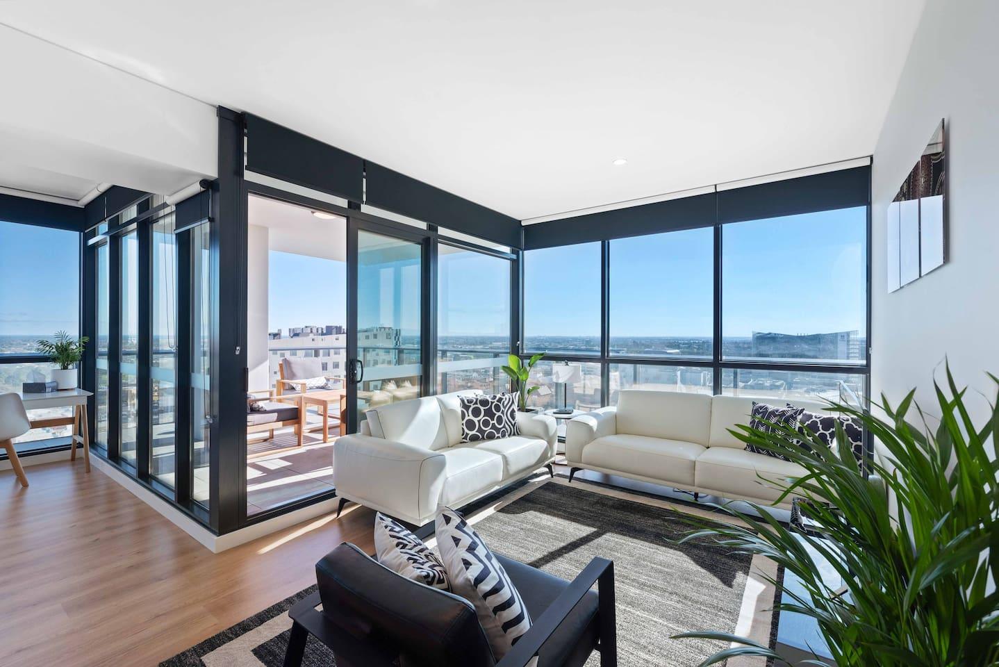 Beautiful views and light on modern decor.