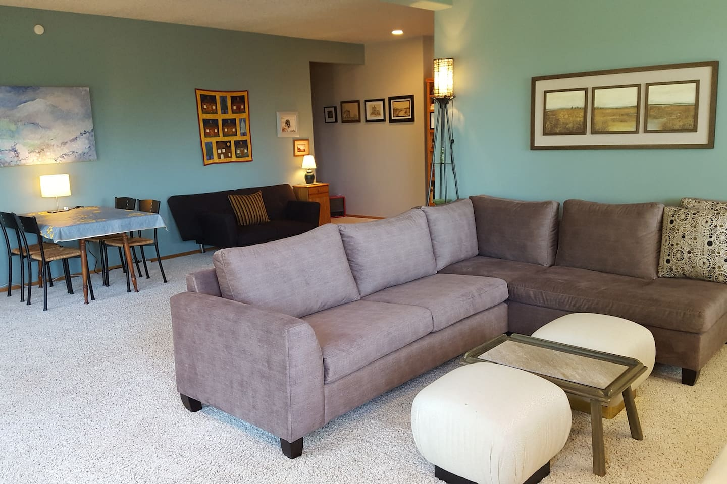 Lots of room. Sectional & Futon for additional sleeping.