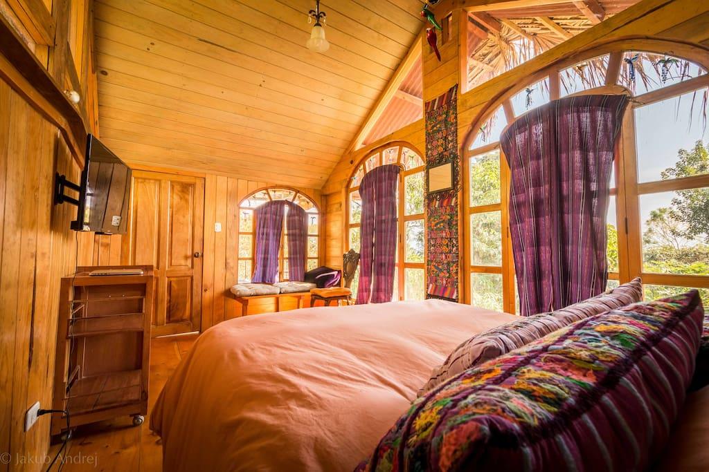 Sunny second floor bedroom