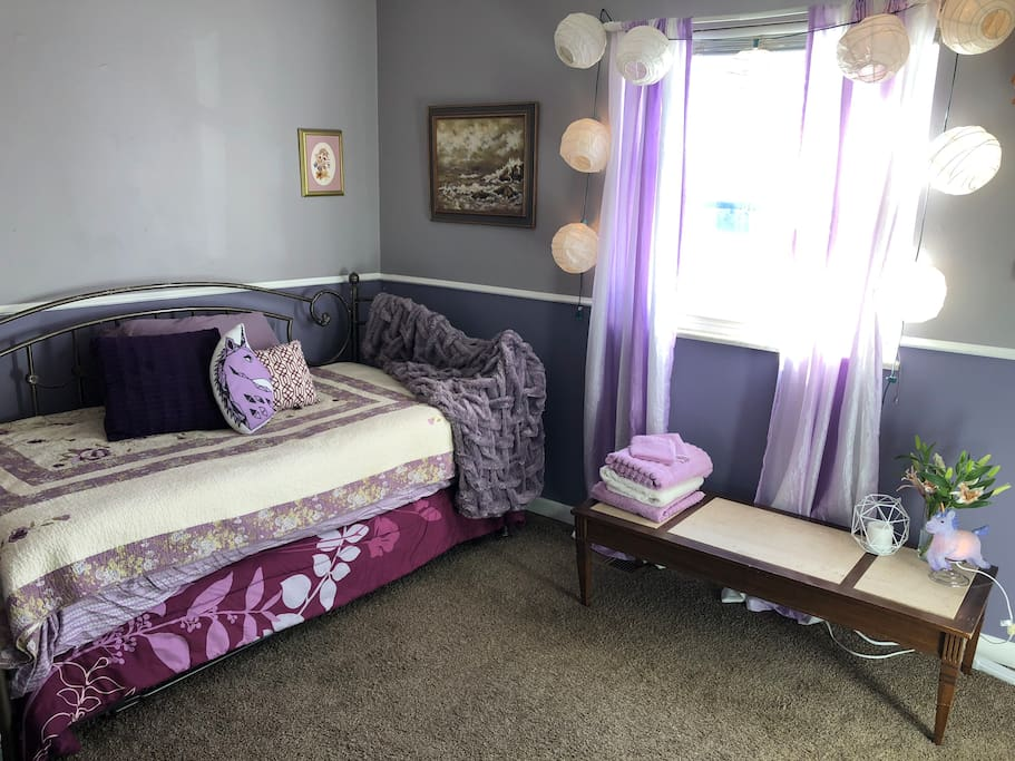 This trundle bed adjusts from a twin to a king to fit your needs!