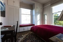 Lots of closet and cabinet space accommodates extended stays.  Two windows allow a nice cross breeze on warm days