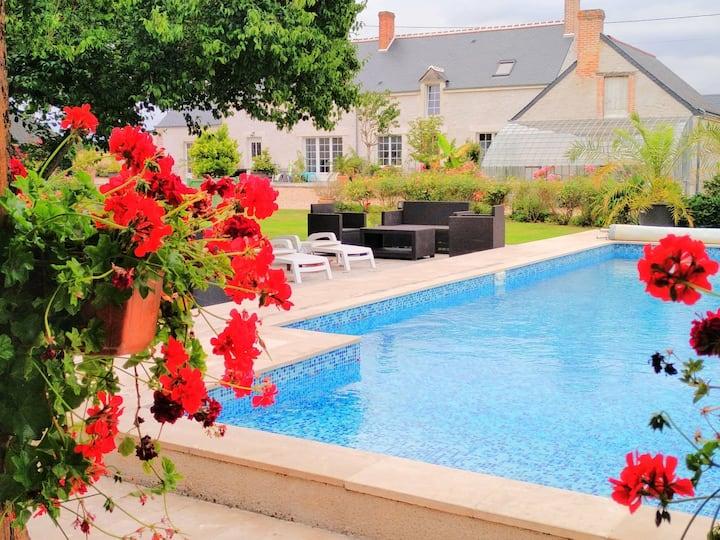 Campagne chic, piscine, cheminée, jardin
