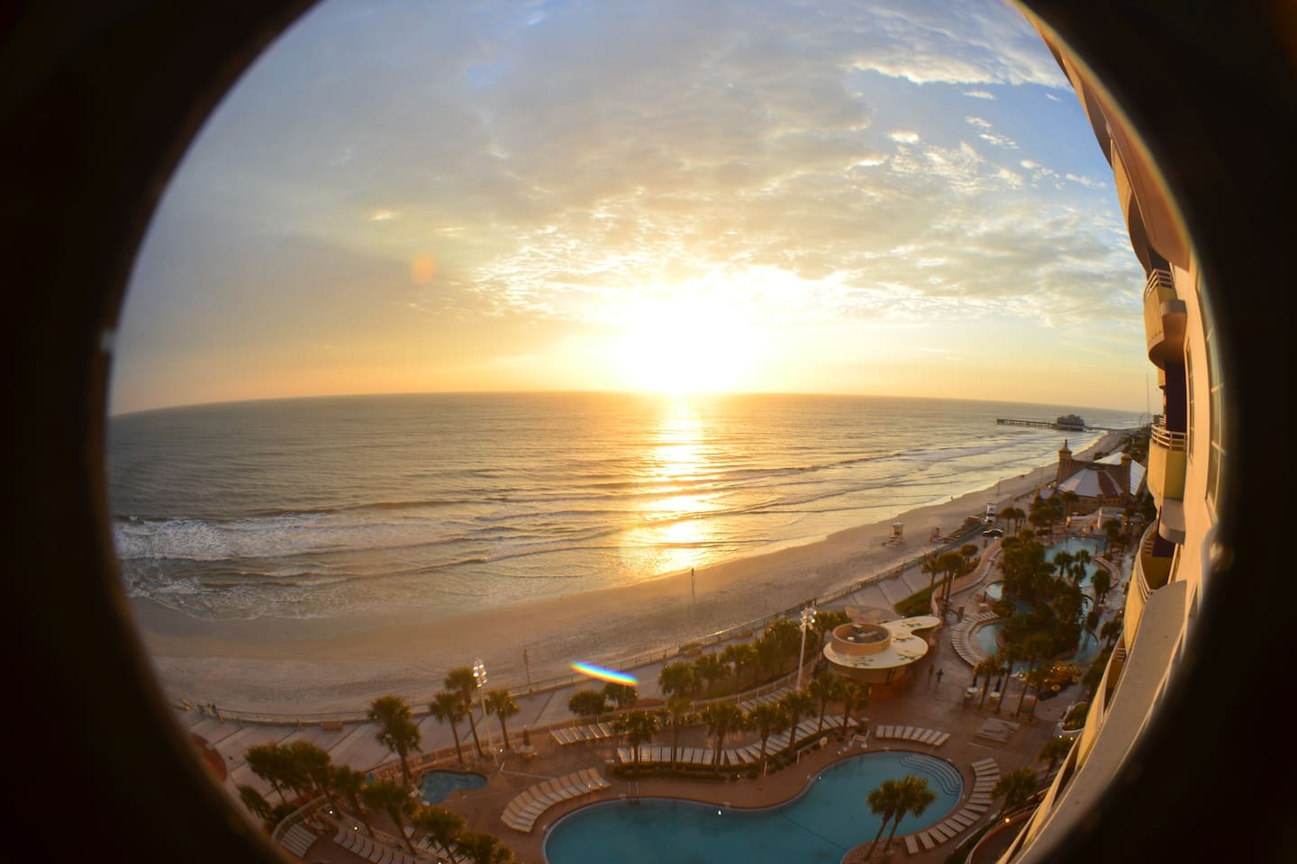 A fish eye capture from the balcony- romance is in the air.