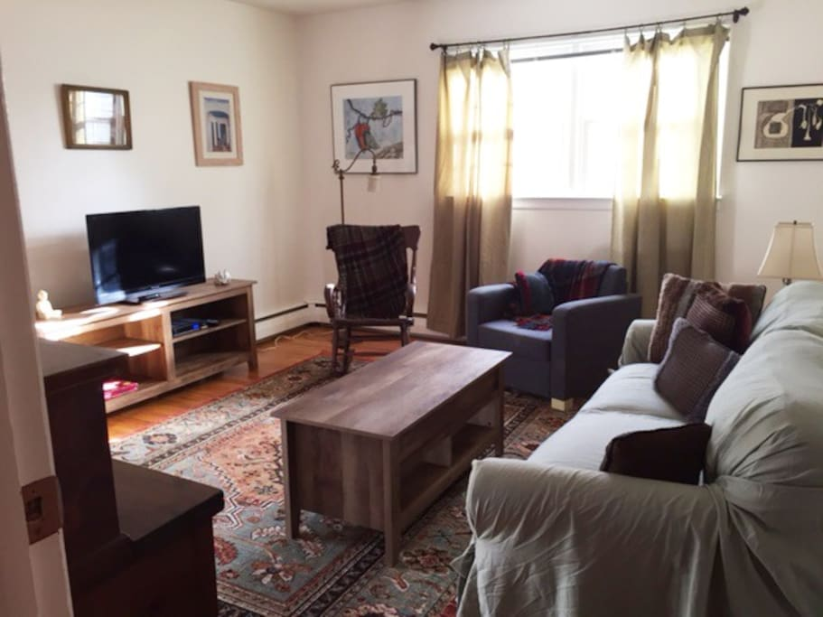 Bright living room, cozy, comfortable, cable tv