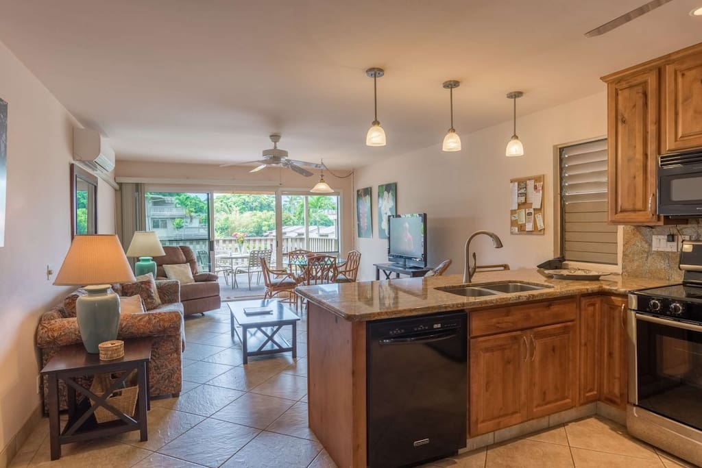 Great Room - Kitchen opens to Den opens to Lanai! Ocean Breezes and Comfortable