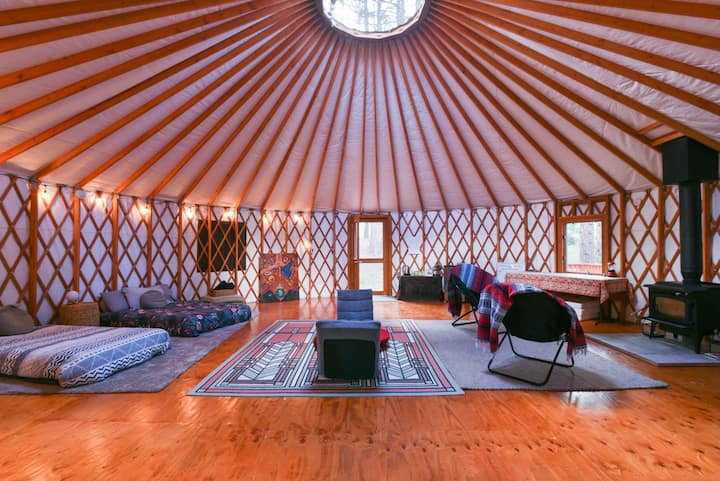 Shelter in a Magical 30-Foot Yurt In the Woods