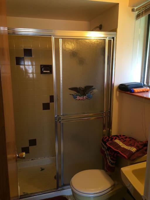 The private bathroom.