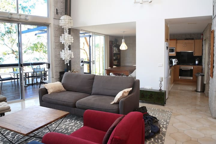 Lounge room with separate dining area and kitchen