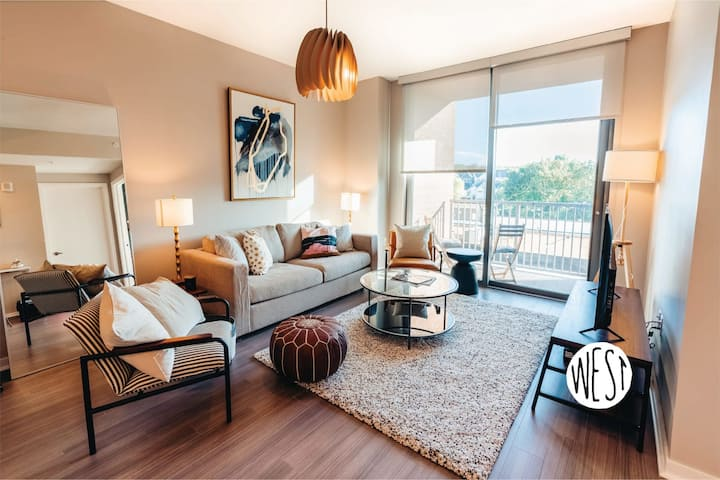 West Home | Hotel Style Suite w/ Balcony, Gym, Heated Pool, and Cozy Bed!