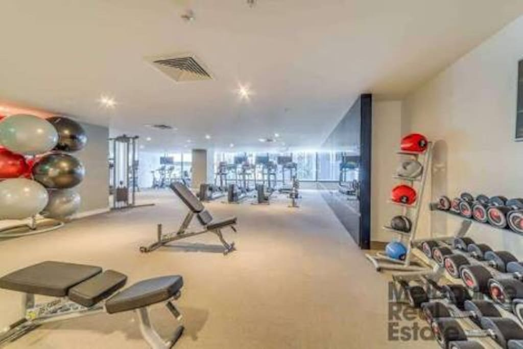 Fully equipped gymnasium on level 1 of the building exclusively available to guests with key access