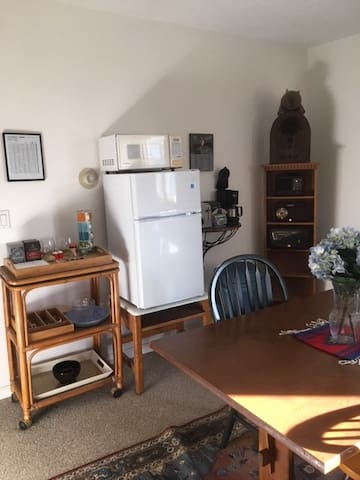 Table, Mini-fridge, Microwave, etc.