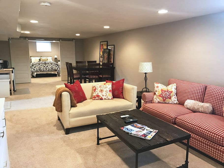 Spacious living area with large game table, seats 8, great for family our a group of friends