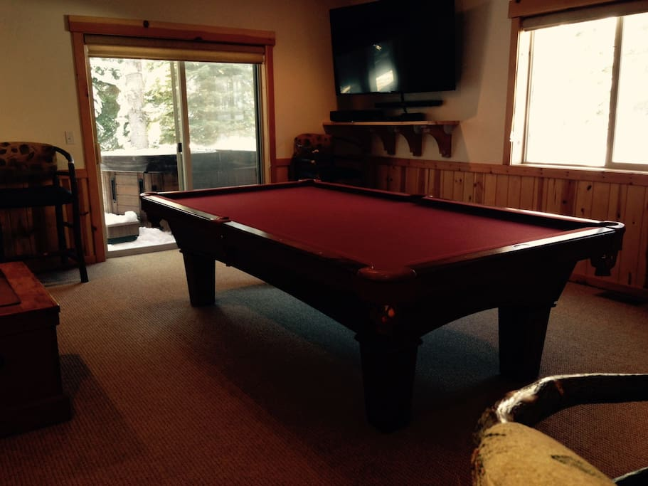 Pool table and new spa on deck outside