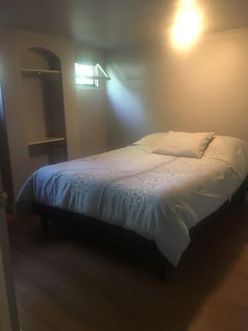 Each bedroom has a queen bed.