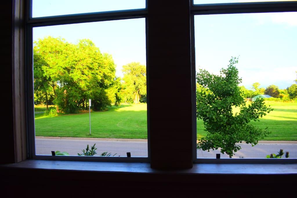 Sun porch views across the park.