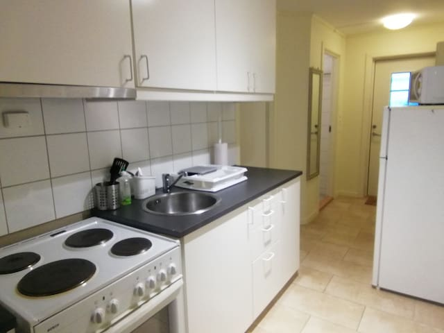 There is a fully equipped kitchen including fridge and micro.