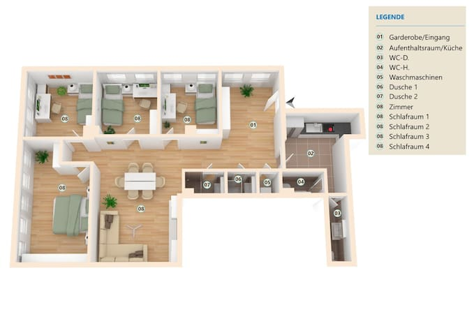 Geräumige Wohnung am Schwanenteich - Lutherstadt Wittenberg - Apartment