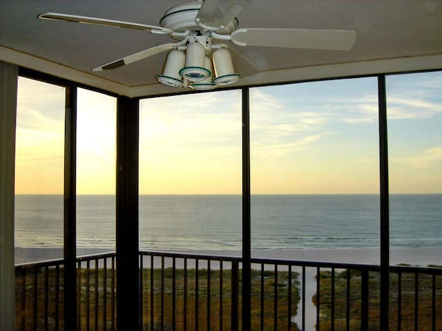 View from our balcony to the Gulf of Mexico and beach. Balcony's glass sliding doors could be open or closed.
