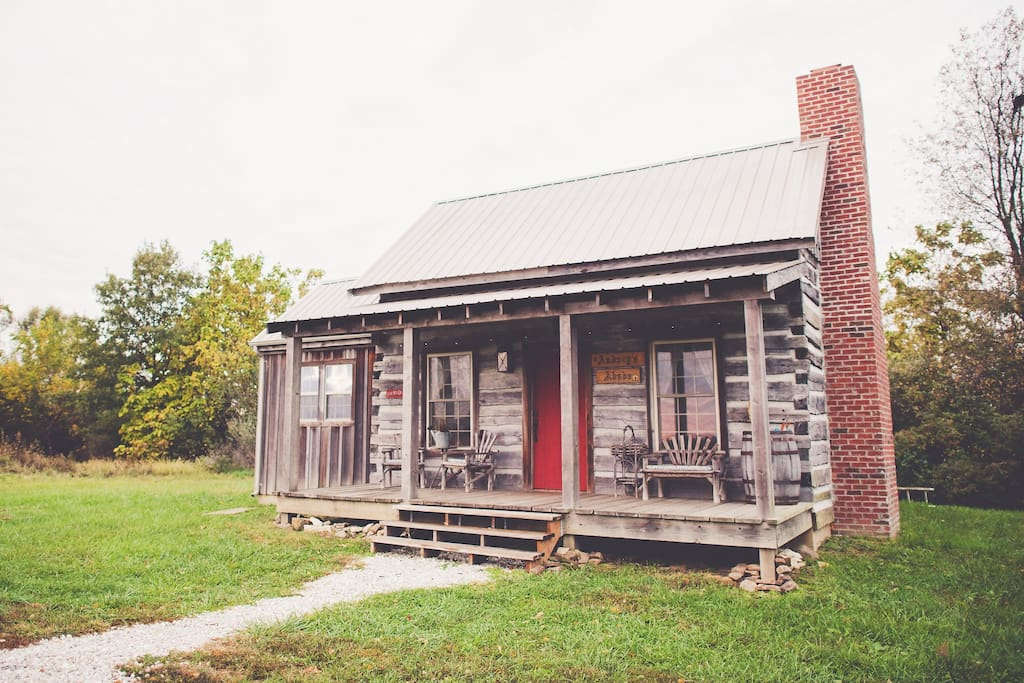 Originally located near Quincy, Illinois, Audrey's Abode is a real, historic log cabin that we tagged, dismantled and moved to our property to preserve the structure. It now has all the amenities of a modern house while maintaining its original, historic charm.