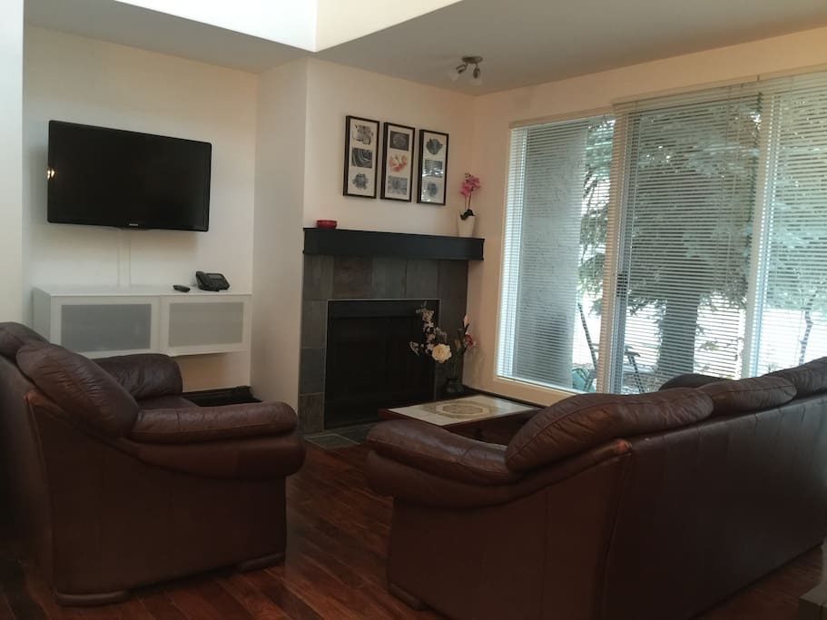 This 2 bedroom condo has a cosy living room with digital tv and cable and doors to it's own private exterior patio.
