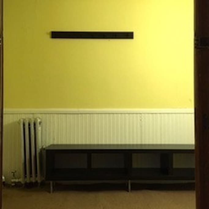 Bench with space for shoes, and coatrack