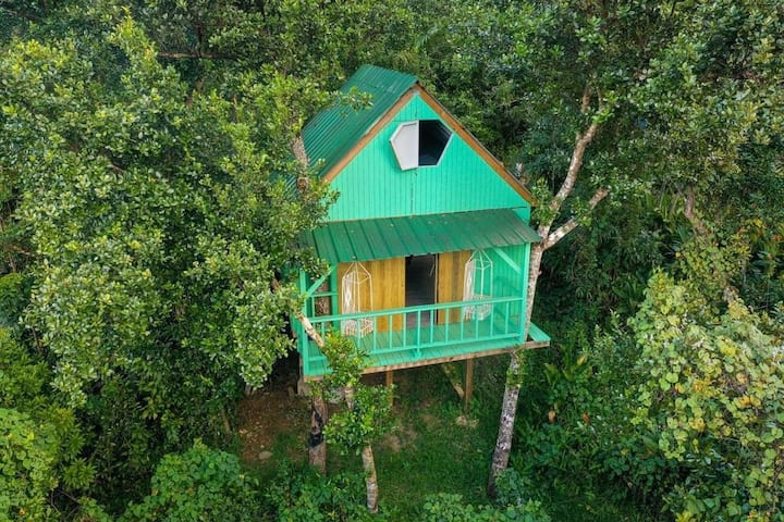 Icaco Treehouse:Rustic tiny treehouse by the river