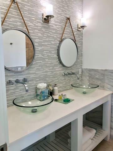 Upstairs bath double vanity