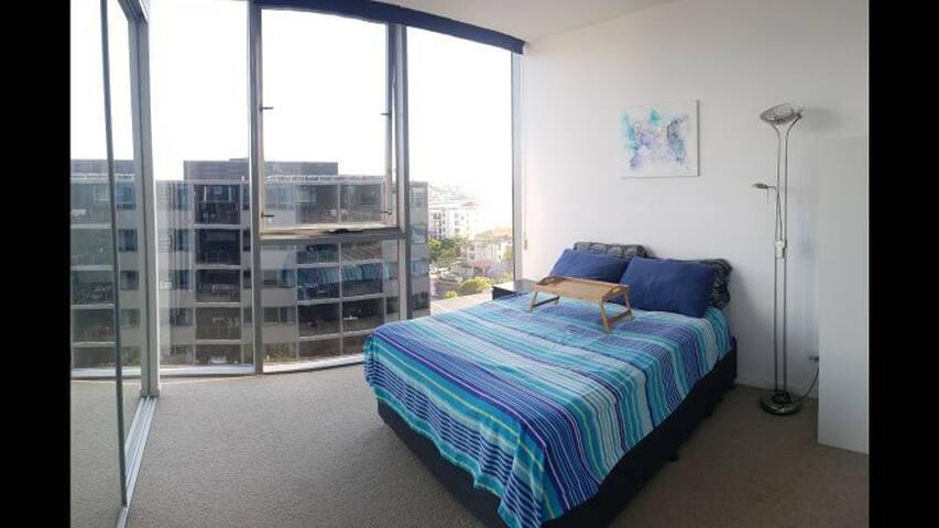 Master bedroom in hip Newstead, full amenities