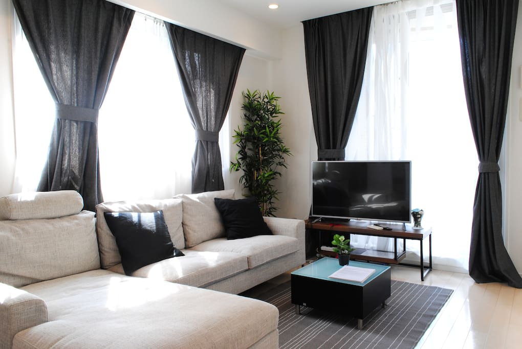 Large, comfortable designer sofa in the living room!