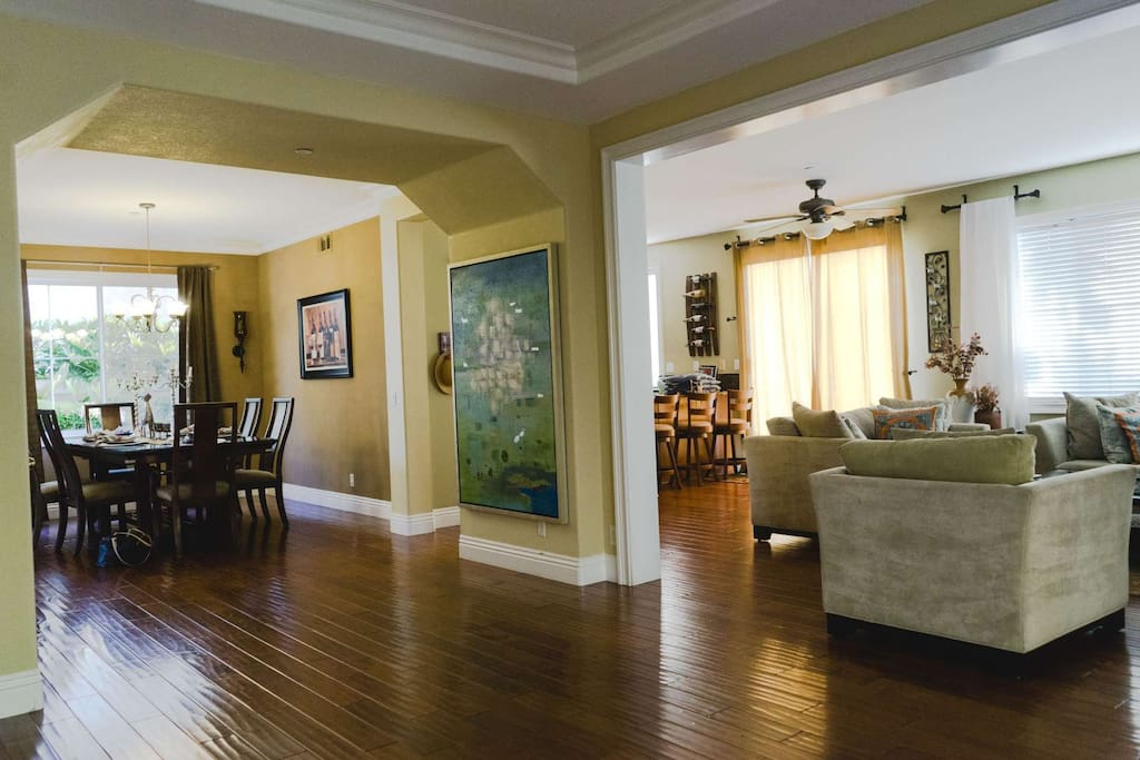 Lower level opens to living room, dining room and kitchen