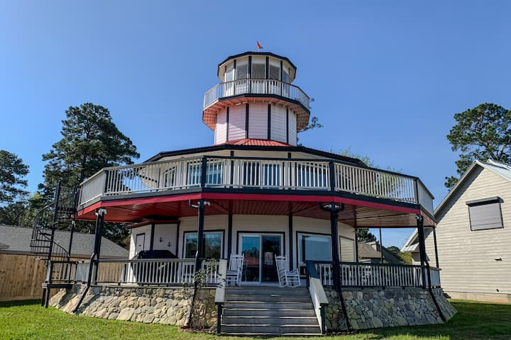 Waterfront Lighthouse with Large Dock
