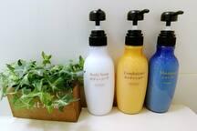 提供资生堂的洗发水、润发水和沐浴露 Shiseido shampoo, conditioner and body soap