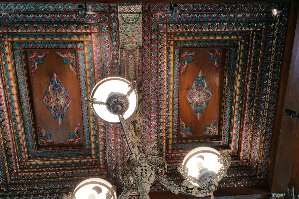 Ceiling living room with old carvings