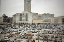 View of the terminal tower from windows (accurate Cleveland weather).