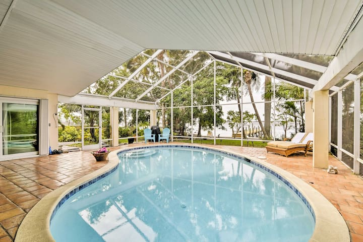 Cape Coral Riverfront Home w/Pool - Walk to Beach!