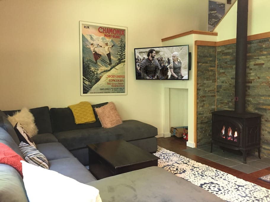 Living room with gas stove heater