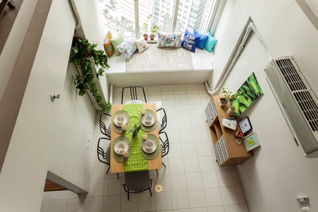 Celebrate natural light through the  ample sunlight or night city lights coming from the 2-floor high window.